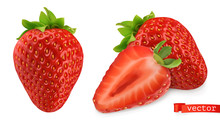 Strawberry Vectorized Image. Fresh Fruit. 3d Realistic Vector Icon