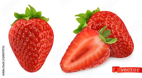 Fototapeta Strawberry vectorized image. Fresh fruit. 3d realistic vector icon obraz