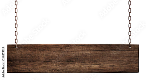Photo  Oblong wooden board made of dark wood hanging on chains
