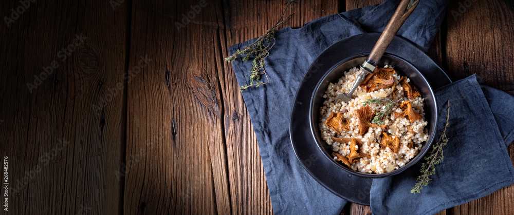 Fototapety, obrazy: Kaszotto- polish risotto from barley groats with mushrooms