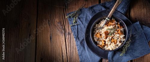 Obraz na plátně  Kaszotto- polish risotto from barley groats with mushrooms