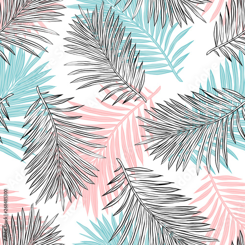 Tropical palm leaves, jungle leaves seamless vector floral pattern background  Wall mural
