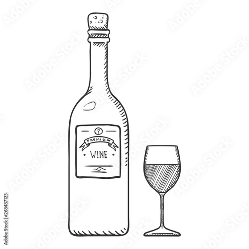 Valokuva  Vector Sketch Illustration - Wine Bottle and Wineglass