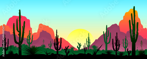 Montage in der Fensternische Licht blau Stony desert with cacti. Sunset in a stony desert with cacti. Silhouettes of stones, cacti and plants. Desert landscape with cacti. The stony desert