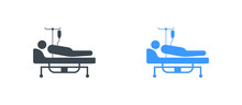 Patient In The Hospital Bed Icon - Glyph Vector Sign