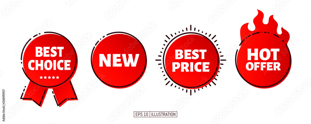 Fototapety, obrazy: Set of product promotion banners. Hot offer, best choice, new, best price lettering. Template for your design works. Vector illustration.