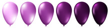 Set Of Realistic Monochrome Isolated Purple Balloons. Template For A Business Card, Banner, Poster, Notebook, Invitation