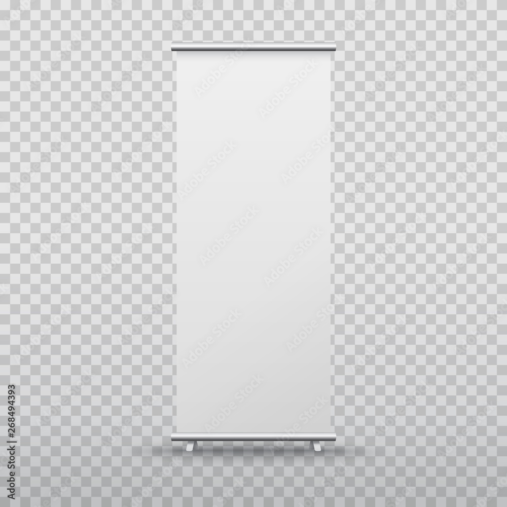 Fototapeta Roll up banner stand isolated on transparent background. Vector blank display mockup for presentation or exhibition product template.