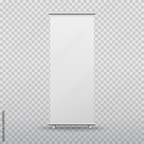 Fototapeta Roll up banner stand isolated on transparent background. Vector blank display mockup for presentation or exhibition product template. obraz