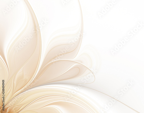 Abstract white background with petals of fractal flower