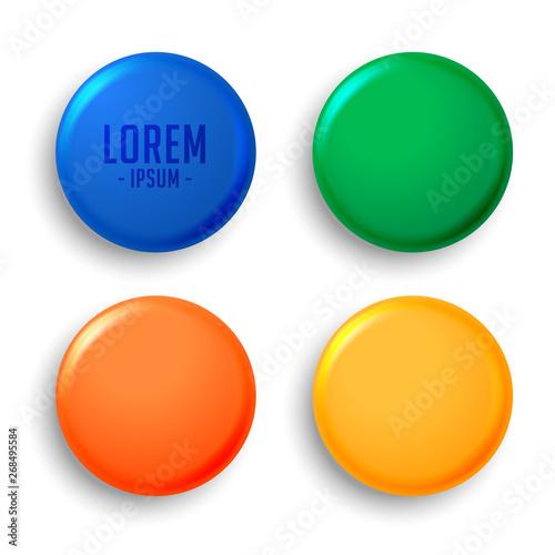 Photo  four empty magnet badges set
