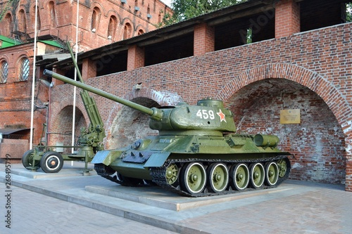 Tank T-34-85 and anti-aircraft gun.Military equipment of the USSR Canvas Print