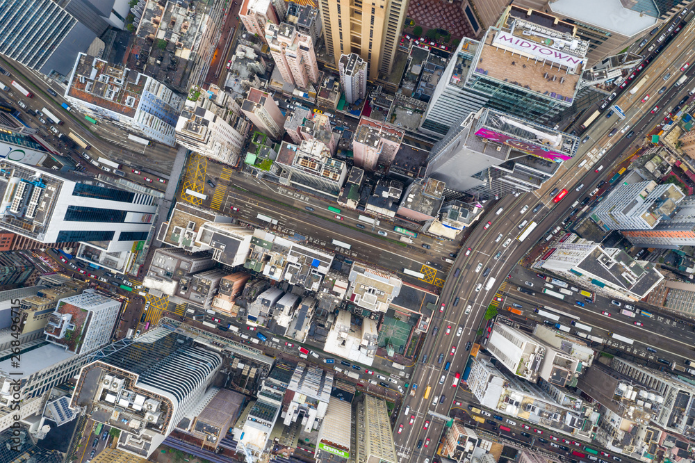 Fototapety, obrazy: Causeway Bay, Hong Kong 07 May 2019: Top view of Hong Kong island district