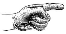 A Hand Pointing A Finger In A Direction Sign. In A Vintage Antique Engraving Woodblock Or Woodcut Style.
