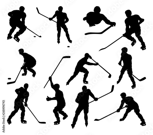 Photo  A set of detailed silhouette hockey players in lots of different poses