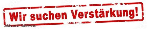 Photo nlsb375 NewLongStampBanner nlsb - german text: Wir suchen Verstärkung! - Banner