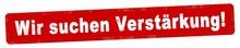 Nlsb376 NewLongStampBanner Nlsb - German Text: Wir Suchen Verstärkung! - Banner / Stempel / Einfach / Rot / Vorlage - Seitenverhältnis 5:1 - 5zu1 - New-version - Xxl G7680