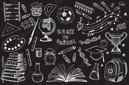 Back To School hand drawn set Fototapete