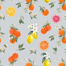 Watercolor Citrus Vector Pattern