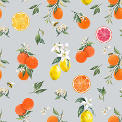 Panel Szklany Owoce Watercolor citrus vector pattern