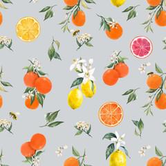 Fototapeta Do kuchni Watercolor citrus vector pattern