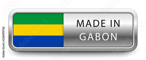 Fotografie, Obraz  MADE IN GABON metallic badge with national flag isolated on white background