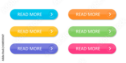 Fotografija Set of colorful buttons with icons isolated on white background for websites and applications in flat style