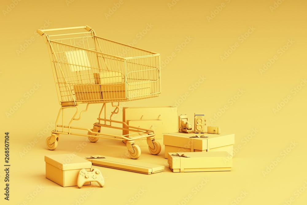 Fototapeta Supermarket shopping cart surrounding by giftbox on yellow background. 3d rendering