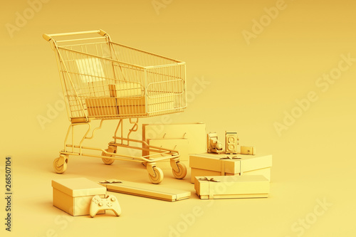 Fotografia Supermarket shopping cart surrounding by giftbox on yellow background