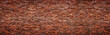 canvas print picture - Antique brick wall, panoramic view. Grunge stone texture.