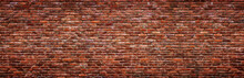 Antique Brick Wall, Panoramic View. Grunge Stone Texture.