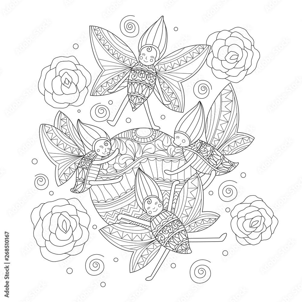 Ręcznie rysowane szkic ilustracji motyla anioła dla dorosłych kolorowanka.