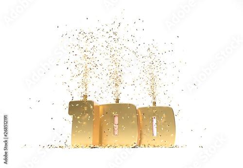 nombre 100 doré pour anniversaire ou nombre d'abonnés Billede på lærred