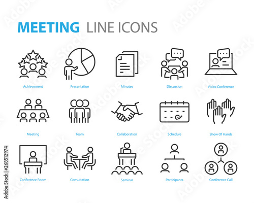 Photographie set of meeting icons, such as seminar, classroom, team, conference, work, classr
