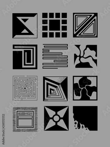 Fotografia  Graphic set with abstract figures on grey background