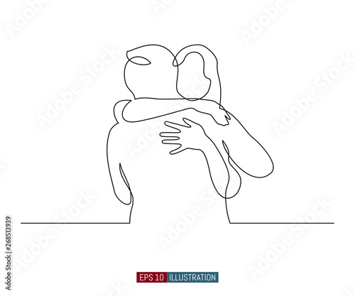 Fotografie, Obraz Continuous line drawing of embrace