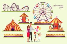 Amusement Park Attractions Illustrations Set