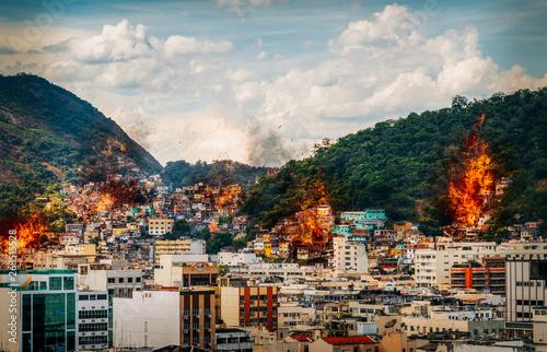 Fényképezés  Fire at favelas in Rio de Janeiro, Brazil - digital manipulation