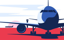 Flat Style Vector Illustration Of The Airliner At The Airport