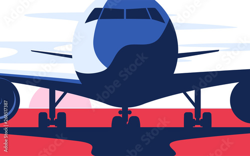 Tuinposter Pop Art Flat style vector illustration of the airliner at the airport