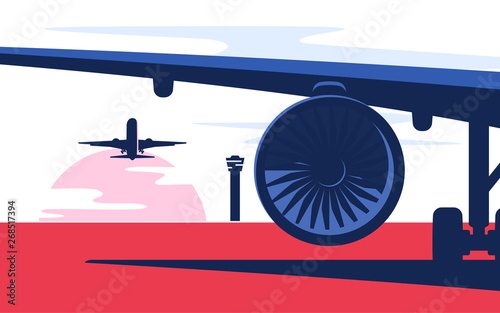 Photo Flat style vector illustration of the airliner at the airport
