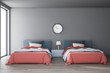 canvas print picture - Gray bedroom interior with two beds and clock