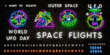Neon Sign UFO. Retro Neon Flying Saucer Signboard On Dark Background. Ready For Your Design, Icon, Banner. Vector Illustration. Space Collection Neon Signs Vector. Cosmic Theme Design Template Concept