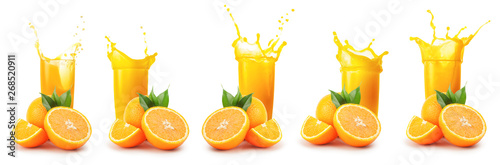 Poster Sap Oranges and glass of orange juice with splash