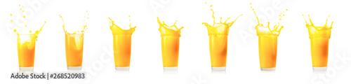 Splash collection in glass of orange juice
