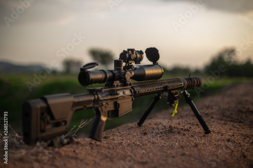 Fotomural modlength rifle and scope