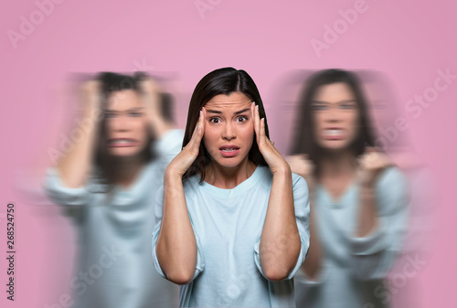 Woman suffering from female hormonal emotional pain, mental anguish and imbalanc Fototapeta