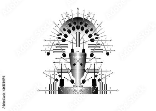 Parody of iron throne, humorous vignette of thrones theme Tablou Canvas