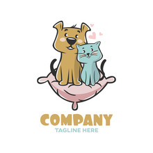 Modern Logo Pets Cat And Dog On The Pillow