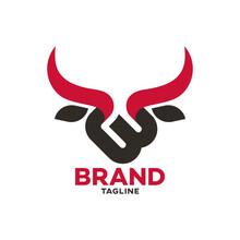 Modern Bull And Letter B Logo